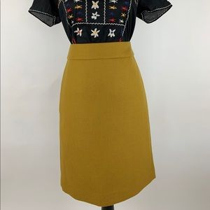 J.CREW Yellow WOOL No. 2 Pencil Skirt Size 4